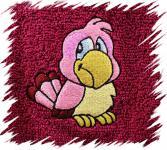 Dětský ručník s výšivkou - RŮŽOVÝ PAPOUŠEK