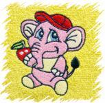 Dětský ručník s výšivkou - RŮŽOVÝ SLON